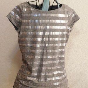 Ann Taylor LOFT Silver Gray Short Sleeve Tee Shirt